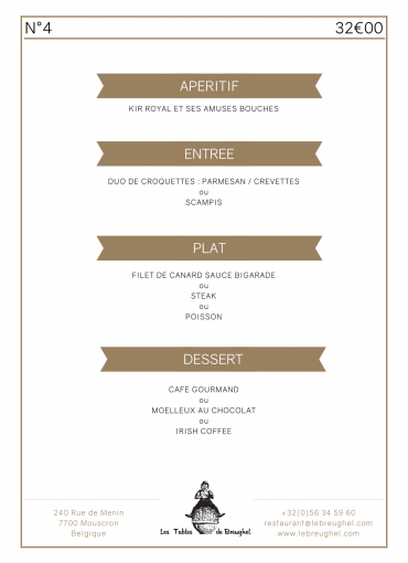 Menu Groupe 4 Les Tables de Breughel Mouscron